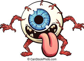 Eyeball monster. Vector clip art illustration with simple gradients. All in a single layer.