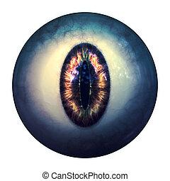 Eyeball of monster - Abstract scary 3d eyeball of a monster,...