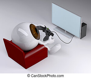 eyeball on armchair with arms, legs and game controller