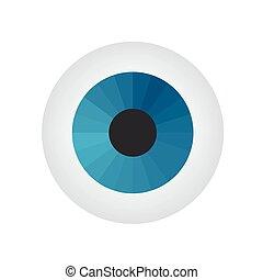 Eyeball on white background. Vector illustration.