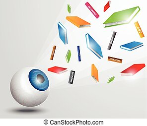 Eyeball with books. colorful books, flying books, vision concept, education concept, education idea