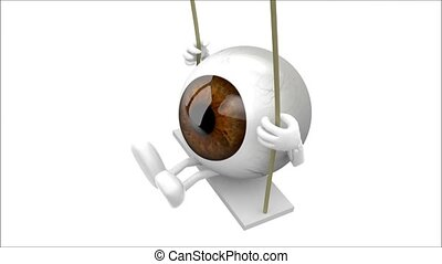 eyeballs cartoon on a swing - brown and blue eyeball with...