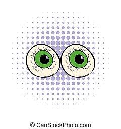 Eyeballs icon in comics style