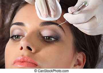 Eyebrow extension - Beautiful young women eyebrow extension
