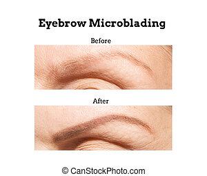 Eyebrow Microblading Before and After - Unretouched before...