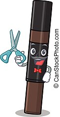 Eyebrow pencil cartoon character design as talented barber. Vector illustration