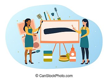 Eyebrow shaping abstract concept. Two artists symbolizing the eyebrow masters drawing the perfect eyebrow on an easel. Flat vector cartoon illustration. Flat design, vector illustration
