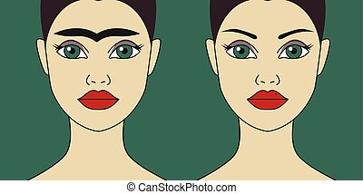 Eyebrow shaping before and after, perfect eyebrows, aesthetic cosmetology. Vector flat illustration