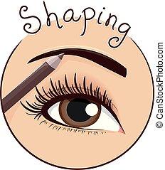 Illustration of an Eyebrow Pencil Makeup Shaping an Eyebrow Icon