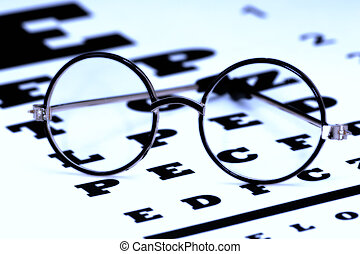 Eyecare - Eyeglasses on a Eyechart