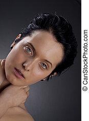 eyed azul, mulher