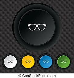 eyeglass, frame, symbool., meldingsbord, retro, icon., bril