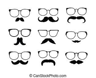 eyeglass, schnurrbart
