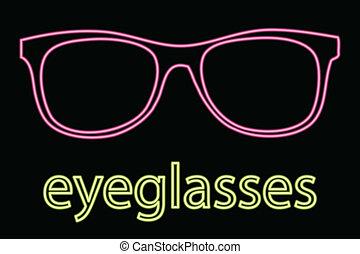 eyeglass, symbool, neon