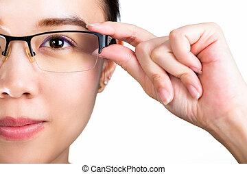 eyeglasses., 女, 身に着けている 接眼レンズ, 隔離された, 白, バックグラウンド。, 目, cataract.