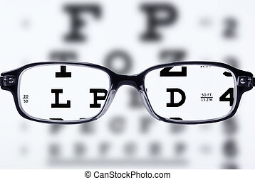 Eyeglasses and eye chart - Reading eyeglasses and eye chart