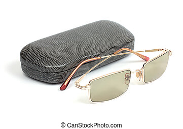 Eyeglasses and gray case