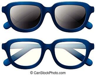 Eyeglasses and sunglasses with blue frames illustration