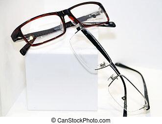 eyeglasses at the white background