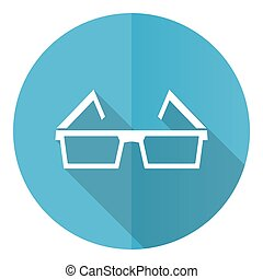 Eyeglasses blue round flat design vector icon isolated on white background