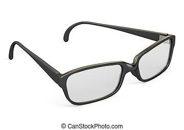 eyeglasses closeup with black frame, 3D rendering
