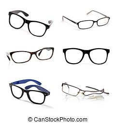 eyeglasses collection isolated on white background