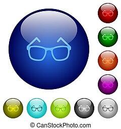 Eyeglasses color glass buttons
