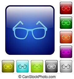 Eyeglasses color square buttons