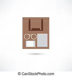 eyeglasses, e-book and sheet of paper inside the paper bag