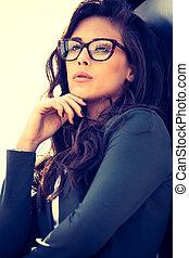 eyeglasses fashion - young elegant woman with eyeglasses ...