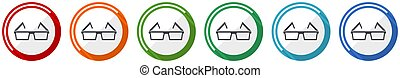 Eyeglasses icon set, flat design vector illustration in 6 colors options for webdesign and mobile applications