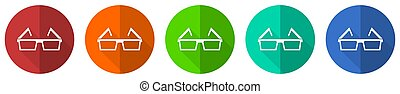 Eyeglasses icon set, red, blue, green and orange flat design web buttons isolated on white background, vector illustration