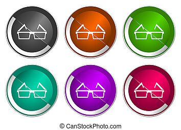 Eyeglasses icon set, silver metallic web buttons