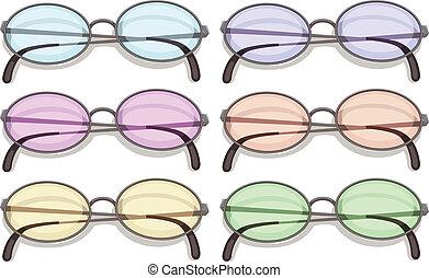 Eyeglasses - Illustration of many eyeglasses with different ...