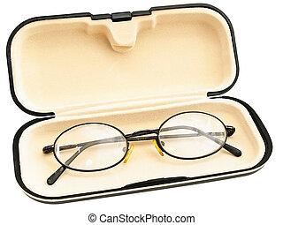 eyeglasses in eyeglass case against the white background