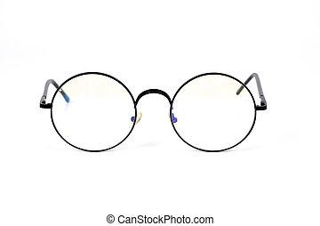 Eyeglasses in round frame on white background.