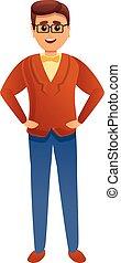 Eyeglasses insurance man icon, cartoon style