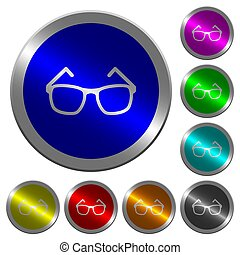 Eyeglasses luminous coin-like round color buttons