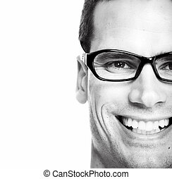 eyeglasses., man