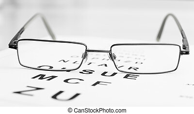 eyeglasses on eye chart