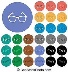 Eyeglasses round flat multi colored icons