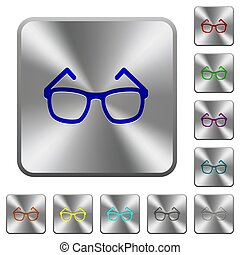Eyeglasses rounded square steel buttons