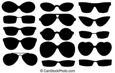eyeglasses - set of sun glasses isolated