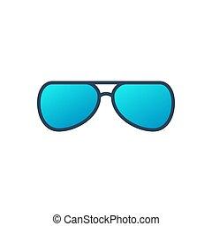 Eyeglasses vector blue icon on white background