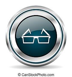 Eyeglasses vector icon. Chrome border round web button....