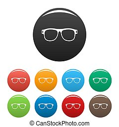 Eyeglasses with diopters icons set color - Eyeglasses with ...