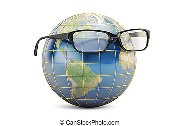 Eyeglasses with Earth globe, 3D rendering