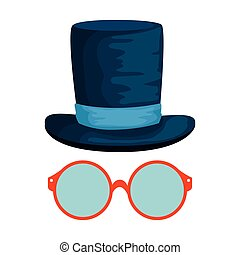 eyeglasses with tophat hipster style vector illustration...