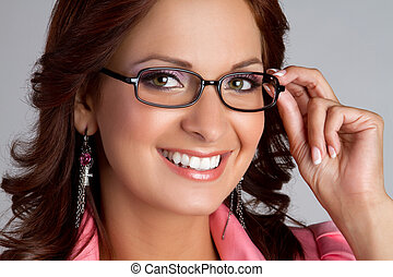 Eyeglasses Woman - Beautiful smiling woman wearing ...
