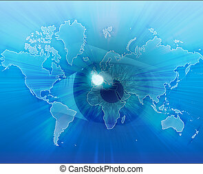 Eyeing the world - Digital collage of an eye over a map of...